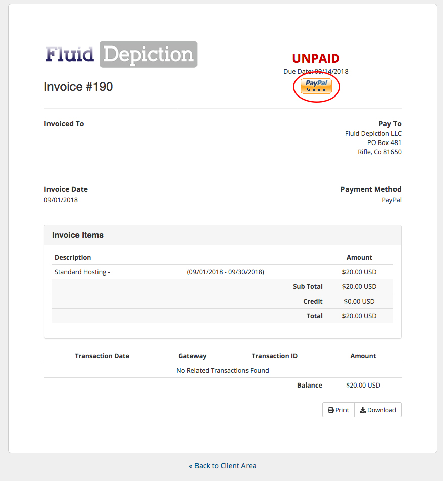 Single Invoice Payment